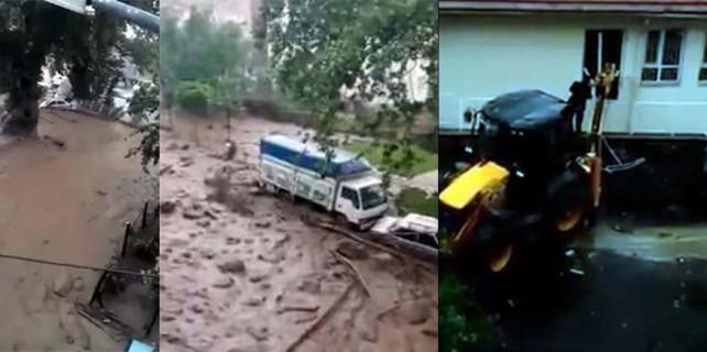 Bursa'da sel duvarları yıkıp araçları sürükledi