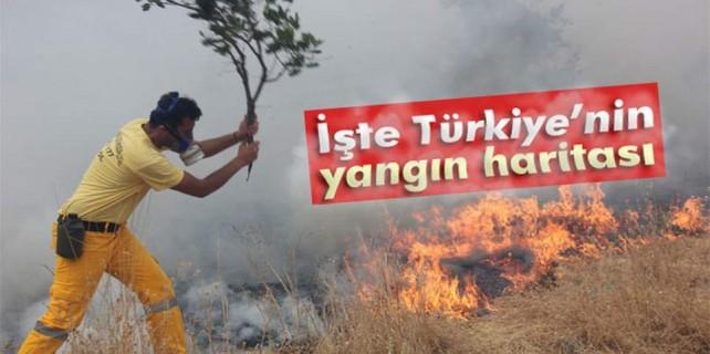 İşte Türkiye'nin yangın haritası...Bursa'da kaç yangın çıktı
