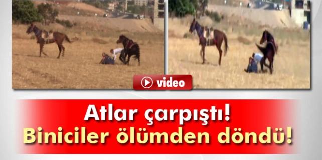 Atlar çarpıştı biniciler ölümden döndü