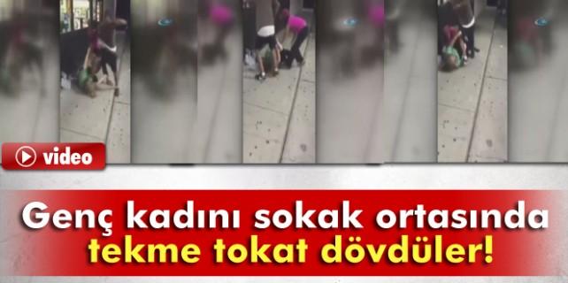 Genç kadını feci şekilde dövdüler