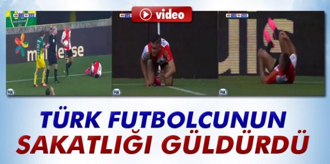Türk futbolcunun sakatlanma görüntüsü güldürdü...