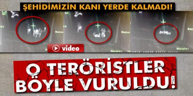 Şehidin kanı yerde kalmadı...4 terörist böyle vuruldu...