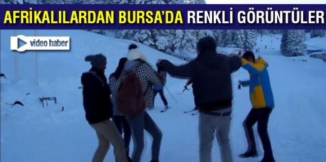 Afrikalılar Bursa'da karı görünce bakın ne yaptılar
