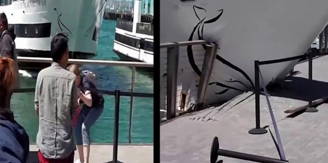 Gemi iskeleye çarparak durabildi: 7 yaralı!
