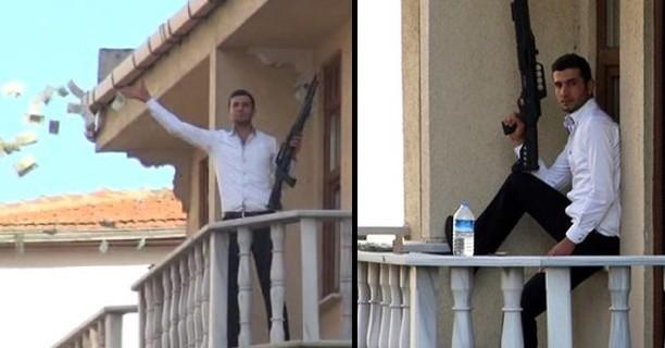 Pompalı tüfekli soyguncu