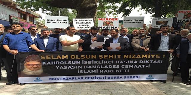 Nizami'nin asılması Bursa'da protesto edildi