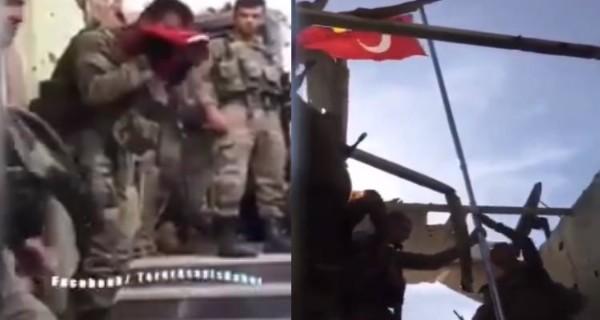Türk Bayrağı'nı Allahu Ekber nidalarıyla göndere çektiler