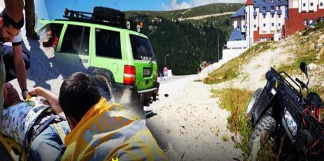 Uludağ'da feci kaza...ATV devrildi...Arap turist
