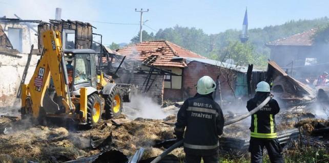 Köyde yangın dehşeti...Hayvanlar telef oldu
