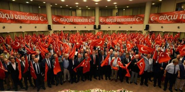 Bursa tek ses tek yürek...81 ile demokrasi anıtı