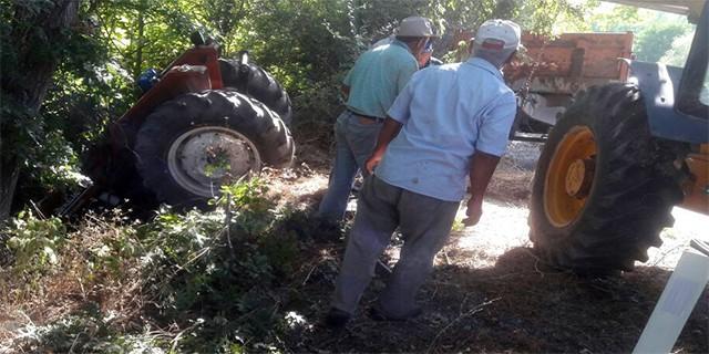 Bursa'da traktör dereye uçtu