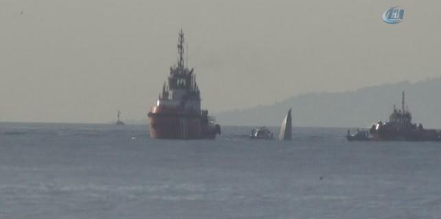 Boğaz'da sahil güvenlik botu battı...