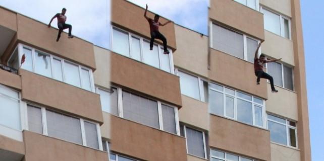 Sevgilisi için 5.kattan böyle atladı