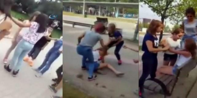 Bursa'da kız kavgasından inanılmaz görüntüler