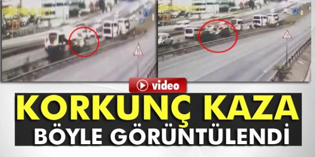 Otoyoldaki feci kaza güvenlik kamerasında...