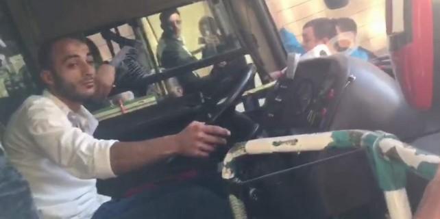 Bursa'da özel halk otobüsünde ilginç görüntüler