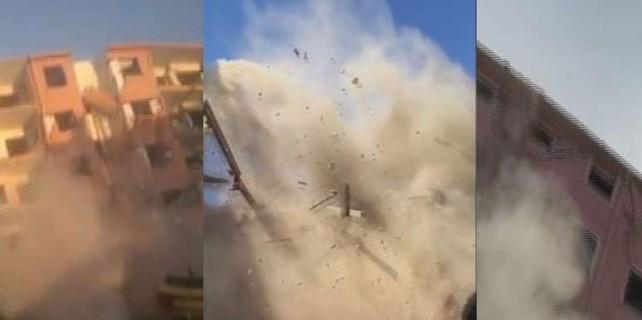 Bursa'da bir taş attı...5 katlı binayı böyle yıktı
