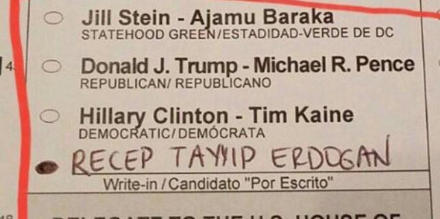 ABD seçimlerinde Erdoğan'a oy çıktı