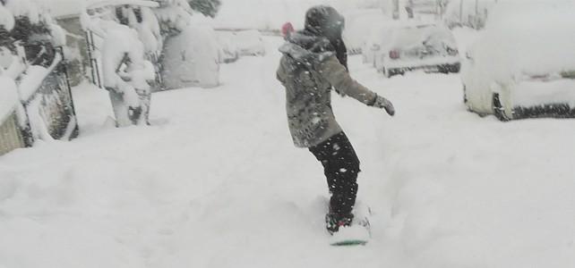 Bursa'da şehir merkezinde snowboard keyfi