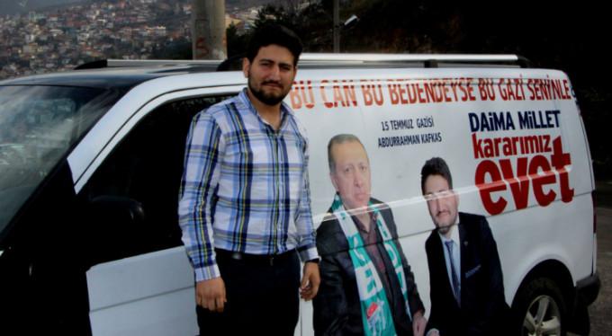 Bursalı darbe gazisi Erdoğan'a böyle destek verdi!