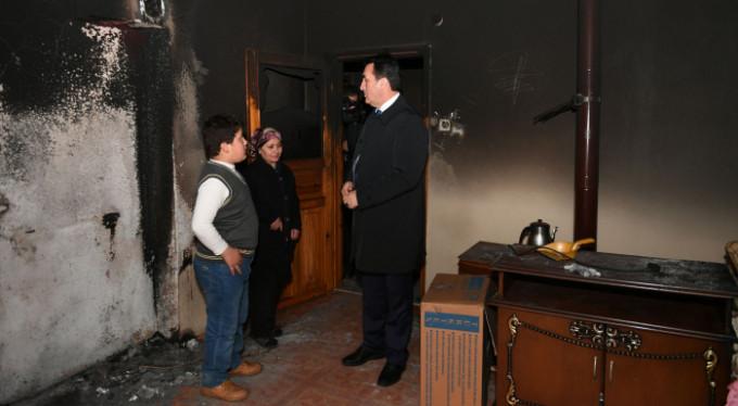 Evi yanan aileye Osmangaz Belediyesi sahip çıktı