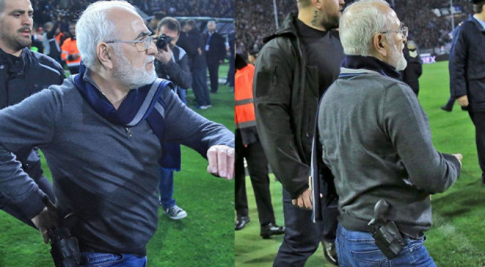 Yunanistan Ligi'nde skandal! Silahla sahaya girdi...