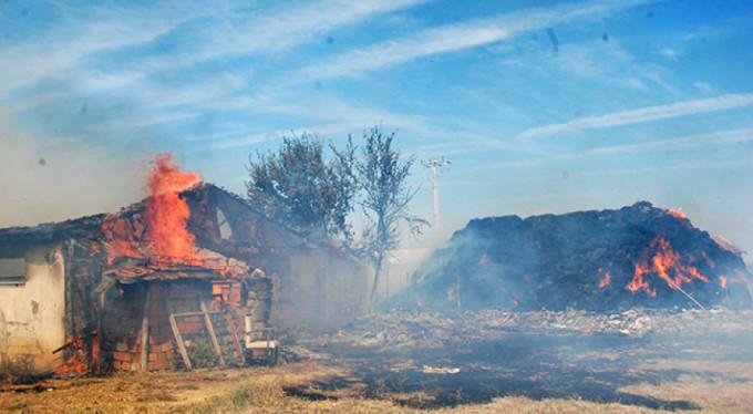 Hayvan çiftliği alev alev yandı