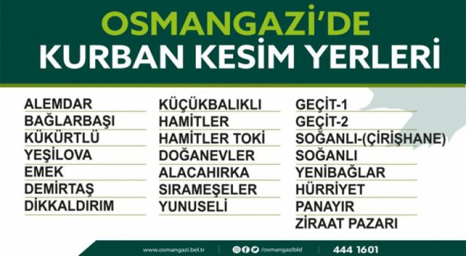 İşte Osmangazi'deki kurban kesim noktaları