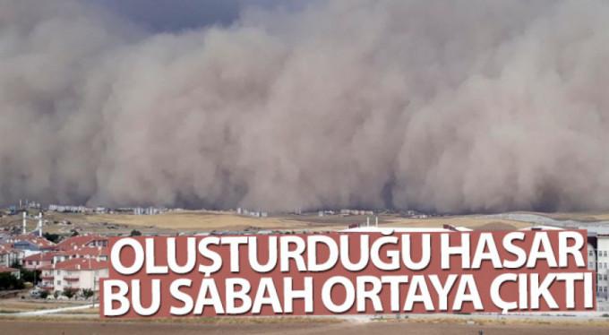 Ankara'daki kum fırtınasının hasarı sabah olunca ortaya çıktı.