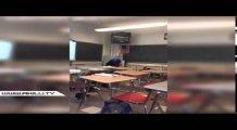 Öğretmenini yerde tekmeledi